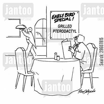 specials cartoon humor: Early bird special - Grilled Pterodactyl.