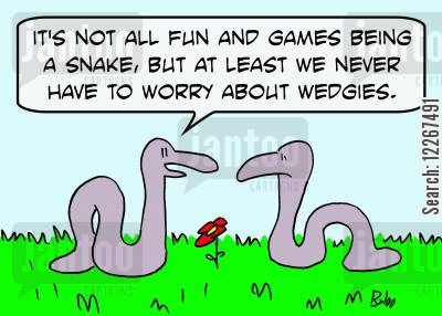 snake skin cartoon humor: 'It's not all fun and games being a snake, but at least we never have to worry about wedgies.'