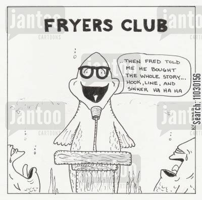 conventions cartoon humor: A fish telling jokes at a 'fryers club' meeting.