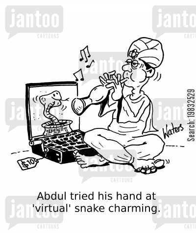 snake charmers cartoon humor: Abdul tried his hand at 'virtual' snake charming.