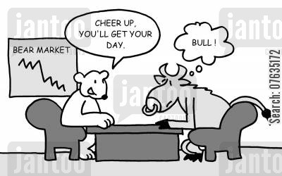 bull market cartoon humor: Cheer up, you'll get your day.