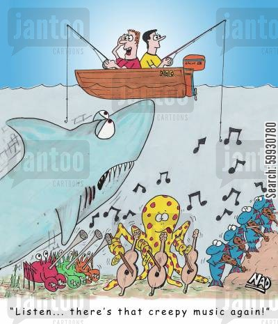 shark attack cartoon humor: A huge shark is about to attack a small fishing boat and one of the guys is saying 'Listen... there's that creepy music again' as an orchestra of fish, crabs and an octopus play the theme from Jaws.