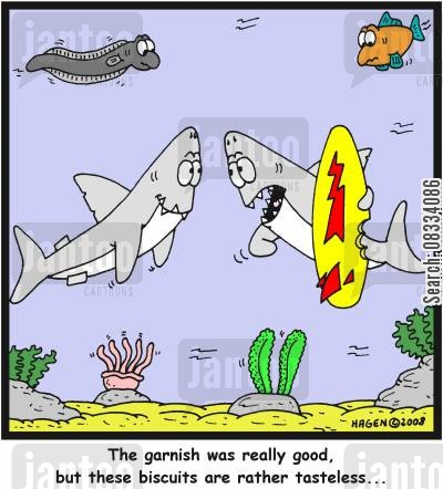 garnish cartoon humor: 'The garnish was really good, but these biscuits are rather tasteless...'