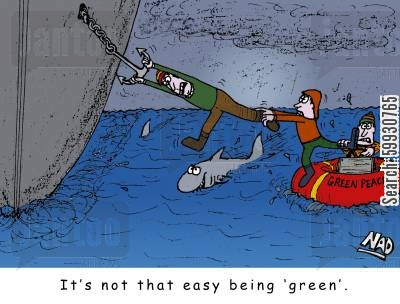 animal activist cartoon humor: A Green Peace activist is dangling from a ship's anchor above a shark in the middle of the ocean - It's not that easy being green.