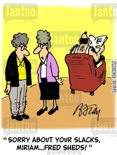 hair losses cartoon humor: 'Sorry about your slacks, Miriam...Fred sheds!'