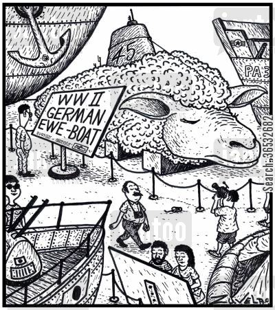 germans cartoon humor: WW 2 German EWE-boat.