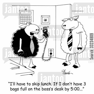 deadline cartoon humor: 'I'll have to skip lunch. If I don't have 3 bags full on the boss's desk by 5:00...: