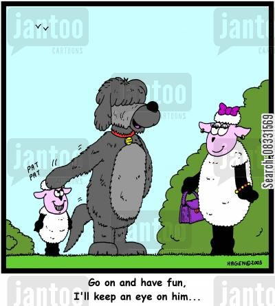 looked after cartoon humor: 'Go on and have fun, I'll keep an eye on him...'