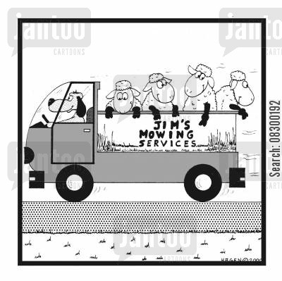 resourcefulness cartoon humor: Jim's Mowing Services