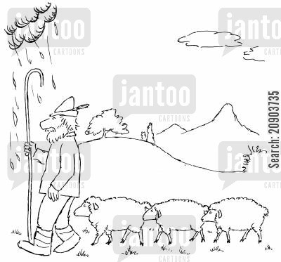 sheeps cartoon humor: Rain cloud follows shepherd.