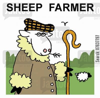 sheep farming cartoon humor: Sheep farmer