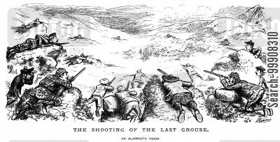 bird hunting cartoon humor: The Shooting of the Last Grouse.
