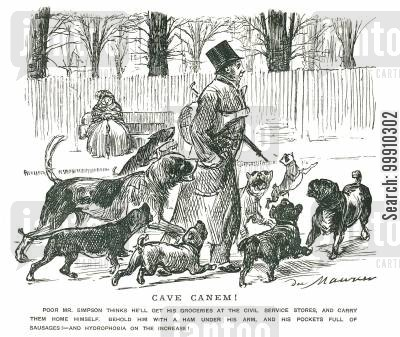 carry cartoon humor: Man with meat getting chased by dogs
