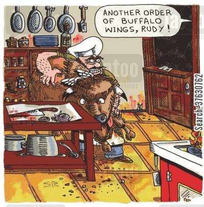 pbison cartoon humor: 'Another order of buffalo wings, Rudy!'