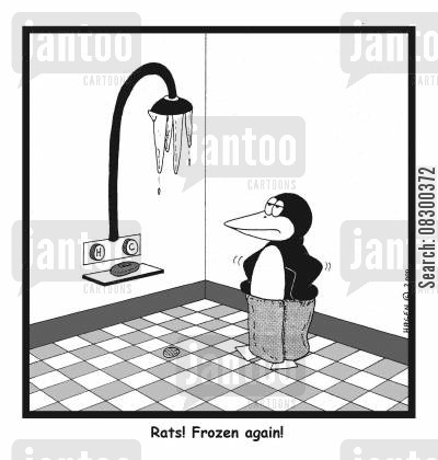 showering cartoon humor: Rats! Frozen again!