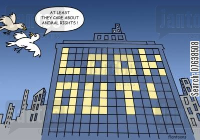 tower block cartoon humor: At least they care about animal rights. Look out.