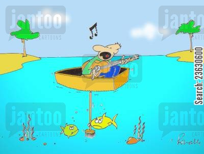 noisy neighbours cartoon humor: Singer in a boat disturbing the fish.