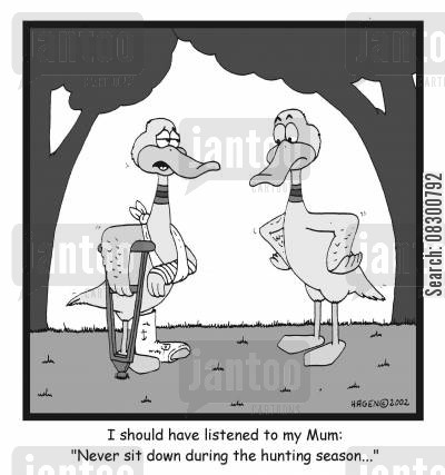 easy target cartoon humor: I should have listened to my Mum: 'Never sit down during the hunting season'