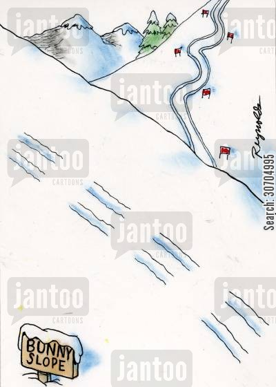 ski hills cartoon humor: Bunny Slope