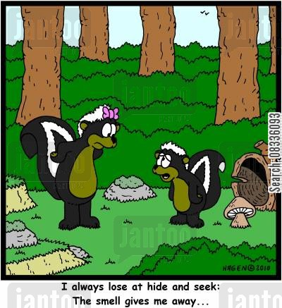 skunks cartoon humor: I always lose at hide and seek: The smell gives me away...