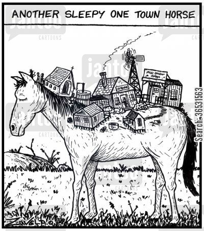 settlement cartoon humor: Another sleepy one town horse.