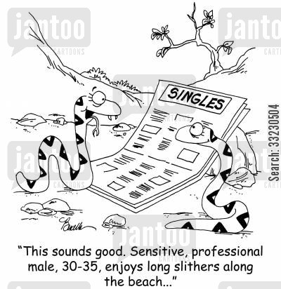 slither cartoon humor: 'This sounds good. Sensitive, professional male, 30-35, enjoys long slithers along the beach...'