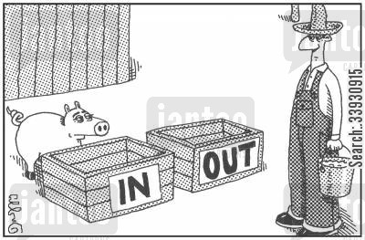 filing paper cartoon humor: IN and OUT slop troughs.