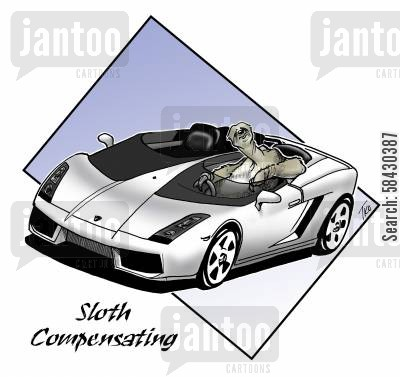 sports cars cartoon humor: Sloth Compensating