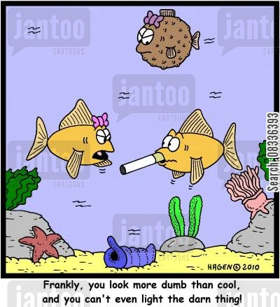 peer pressure cartoon humor: 'Frankly, you look more dumb than cool, and you can't even light the darn thing!'