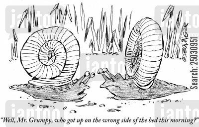 awake cartoon humor: 'Well, Mr. Grumpy, who got up on the wrong side of the bed this morning?'