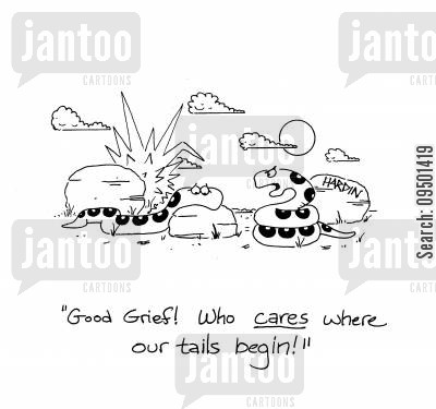 self image cartoon humor: 'Good grief! Who CARES where our tails begin?'