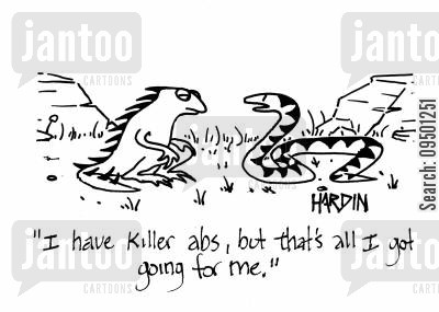 muscly cartoon humor: 'I have killer abs, but that's all I got going for me.'