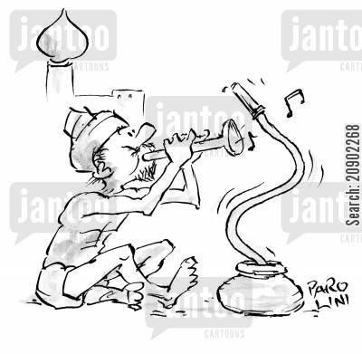 hosepipe cartoon humor: Hose charmer.