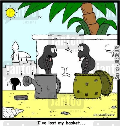 charming snakes cartoon humor: 'I've lost my basket...'