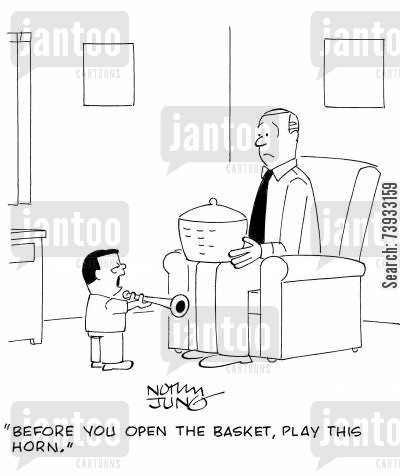 hypnotists cartoon humor: 'Before you open the basket, play this horn.'