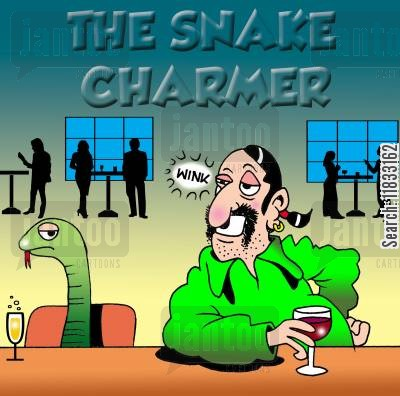 charming snakes cartoon humor: The snake charmer.