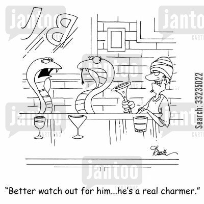 charming snakes cartoon humor: 'Better watch out for him...he's a real charmer.'