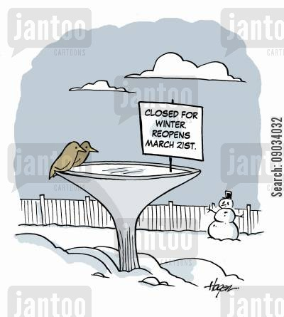 frozen water cartoon humor: Closed for winter. Reopens March 21st.