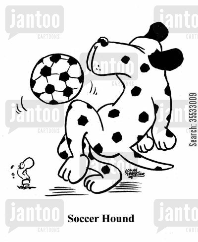 dog breed cartoon humor: Dalmation with soccer ball: Soccer Hound.
