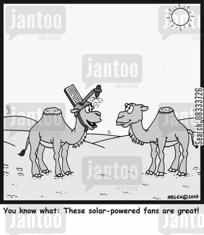 solar power cartoon humor: You know what: These solar-powered fans are great!