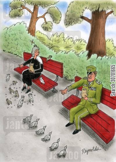 military man cartoon humor: Military man has pigeons lined up in front of him.