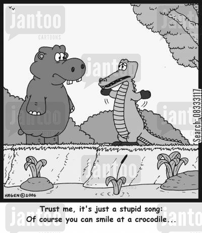 never smile at a crocodile cartoon humor: 'Trust me, it's just a stupid song: Of course you can smile at a crocodile...'