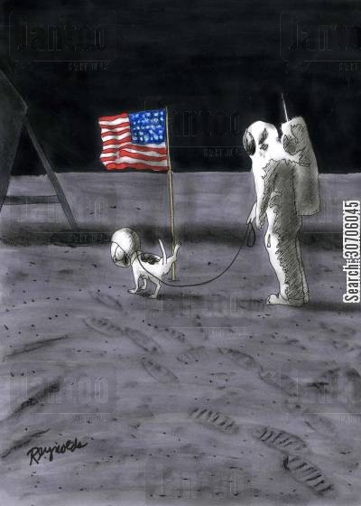 flagpole cartoon humor: Astronaut with a dog weeing on the flagpole.