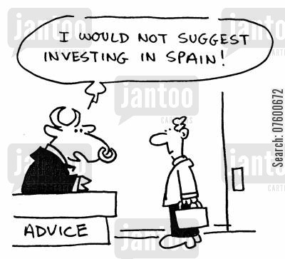 bullfights cartoon humor: 'I would not suggest investing in Spain!'
