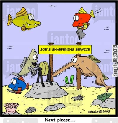 sawfish cartoon humor: 'Next Please...' (Joe's Sharpening Service).