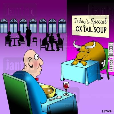 oxes cartoon humor: Today's special - Ox tail soup.