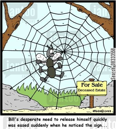 spiders webs cartoon humor: Bill's desperate need to release himself quickly was eased suddenly when he noticed the sign...