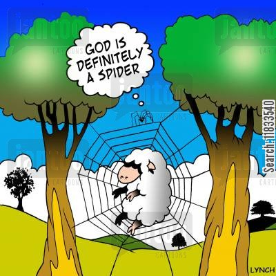 spider web cartoon humor: God is a spider.