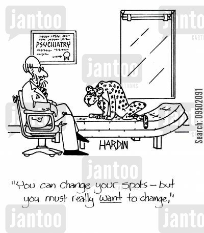 leopard cartoon humor: 'You can change your spots, but you must really want to change.'