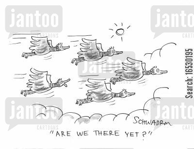 geese cartoon humor: Goose asks, 'Are we there yet?'